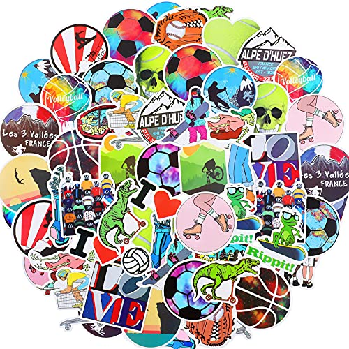 100 Pieces Sports Stickers for Laptop Vinyl Sports Decals Waterproof Basketball Football Stickers Mixed Laptop Decals for Decoration Water Bottle, Computer, Phone, Luggage, Guitar, Refrigerator