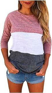Seaintheson Fashion Women Patchwork Blouse, Ladies Long Sleeve Splice Tops Clothes T Shirt