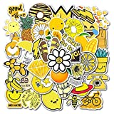 Yellow Vsco Cute Stickers for Hydro Flask[50pcs] Mini Ins Vinyl Sticker for Water Bottles Laptop Phone Case Computer Bike Helmet Car Motorcycle Bumper Luggage Helmet Skateboard Snowboard Gift for Kids