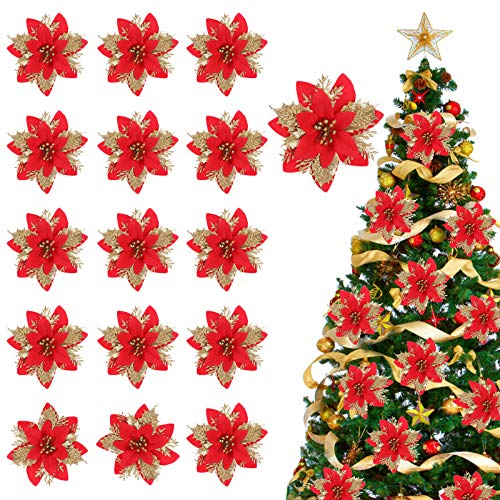Tacobear 16 Stück Künstliche Blumen Weihnachtsdeko Weihnachtsblumen Weihnachtsgirlande Weihnachtsbaum Deko Funkeln Poinsettia Blumen Hochzeit Neujahr Party Dekoration für Haus Garten (Rot Gold)