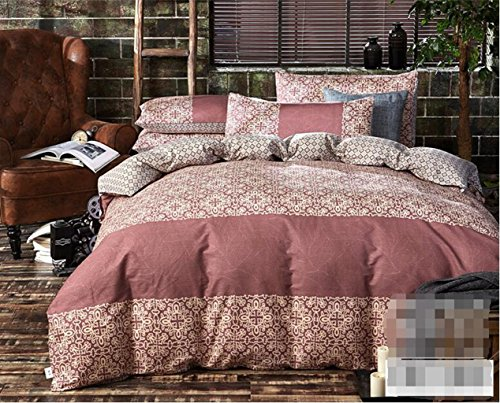 Sucastle Linge de lit en Coton Pastoral de Style européen et américain, à Quatre pièces, Couette Classique, Couvre-lit literie Quatre pièces