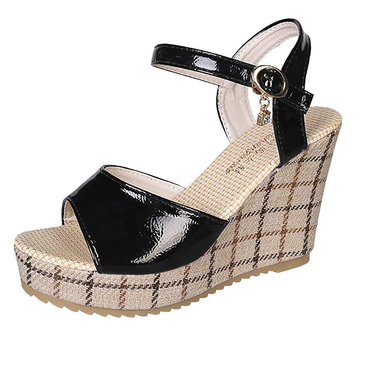 Duseedik Women's Summer Wedge Sandals Thick-Soled Sponge Cake Buckle High-Heeled Roman Outdoor Shoes