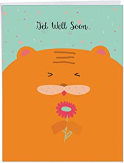 Fur You - Colorful Get Well Soon Greeting Card with Envelope (8.5 x 11 Inch) - Cute Orange Cat Thinking of You Notecard - Furry Animal Themed Feel Better Stationery Notecard J6584GGWG