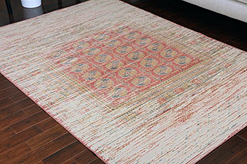 Rustic Collection Antique Style Wool Exposed Cotton and Jute Oriental Carpet Area Rug Rugs Charcol Rust Beige 8x11 8x10 7'10x10'2