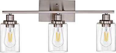 Banato Lighting Bathroom Vanity Light Fixtures 3 Lights Sconces Wall Lighting Brushed Nickel Contemporary Wall Lamp with Clea