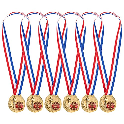 Amazon.com : Juvale Pack of 6 Gold Medals - Winner Medals for Kids and Adults - Made from Real Metal - Great for All Contests and Competitions, Gold, Red, White, Blue : Sports & Outdoors