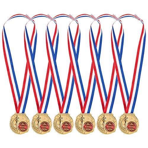 Goldfarbene Medaillen von Juvale (Set, 6 Stück) - Aus Metallmit Zinklegierung - Ideal für Wettbewerbe, Partyspiele, Mitarbeiter des Monats - Band Rot, Weiß, Blau - Für Kinder und Erwachsene