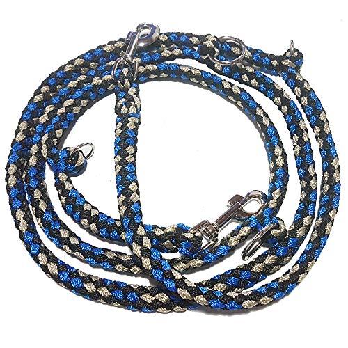 Activity4Dogs Geflochtene Hundeleine, Multileine, 4-Fach verstellbar, 2,80 m lang, rund, Durchmesser 15mm, für größere und große Hunde, Made IN Germany blau-schwarz-weiß