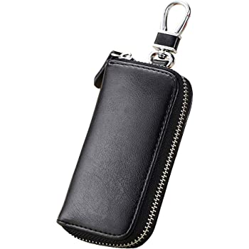 Genuine Leather Car Key Holder Case Zipper Wallet with 6 Ring Hooks Card Case for Men Women Bright Yellow