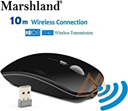 MARSHLAND Wireless Mouse Rechargeable One Month Battery Backup Silent Click Work with 800 1200 1600 DPI Mini Portable with Battery & USB Receiver Mouse for PC Laptop and Desktop (Black)