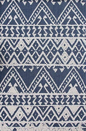 Durable 100% Recycled Cotton Rug Blue Cream Aztec Woven Flatweave Mat Tribal Kitchen Utility Living Room Hallway Rugs