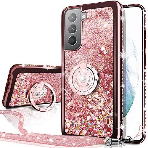Miss Arts Cover Galaxy S21 5G, [Silverback] Custodia Glitter di in TPU con Supporto, Pendenza Colore Diamond Liquido Cover Case per Samsung Galaxy S21 5G -Oro Rosa