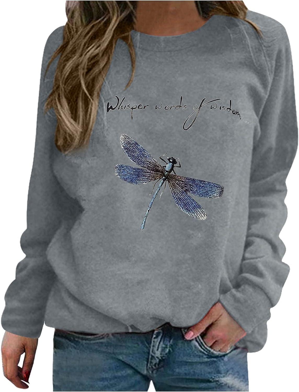 Womens Cute Cartoon Print Sweatshirts Long Sleeve Loose Comfy Crewneck Pullover Tops Simple Novelty Causal Tunic Shirts