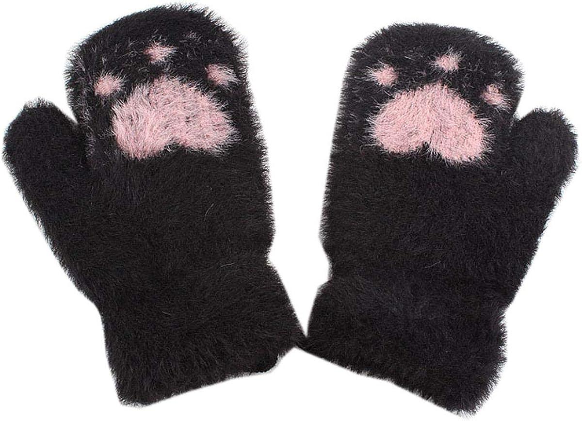 ACVIP Children Soft Heart Knit Gloves Winter Fuzzy Fleece Lined Mittens with String for Little Girls