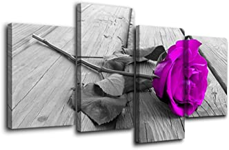 Purple Rose Wall Art Decor Flowers Plants Picture Big Modern Black White and Grey Wooden Board Multi Panel Canvas Prints Artwork Painting Home Decoration Stretched and Framed Ready to Hang
