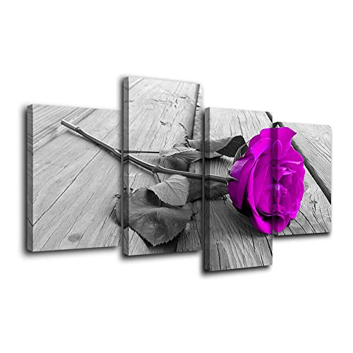 Flower Wall Art Bedroom Decor Purple Rose Floral on Grey Wooden Boards Large Modern Bedside Painting Pictures Art Posters Canvas Prints Framed Artwork Home Living Room Decorations
