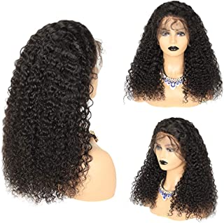 Long Deep Curly Wigs for Black Women Human Hair 360 Lace Frontal Wigs Human Hair Showjarlly Brazilian Virgin Pre Plucked with Baby Hair (20 inch 130% Density).