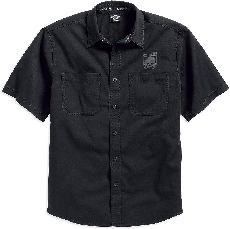 Harley-Davidson Men's Skull Shield Shirt Short Sleeve, Black. 99009-16VM