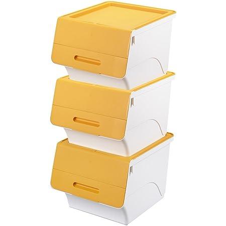 サンカ 【日本製】 収納ボックス ふた付き 3個組 レギュラー 深型 froq (フロック) キャスター付き 積み重ねOK オープン時ふた固定可能 幅38.5×奥行46×高さ31cm 完成品 サンドイエロー FR-30SYE*3+C
