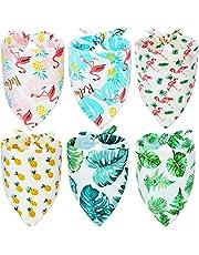 6 Pañuelos de Perro de Triangular de Verano Hawaii Baberos Triangles de Mascotas de Flamingo Bufanda de Perro Reversible Pañuelo de Mascotas Lavable Ajustable(M)