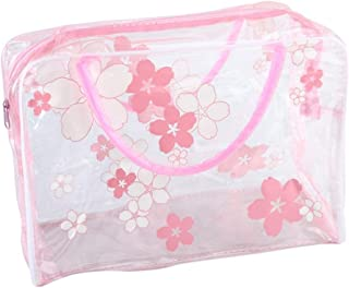 FY Home Transparent PVC Storage Bag Flower Waterproof Laundry Makeup Toiletry Travel Wash Cosmetic Pouch (Hot Pink)