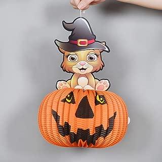 Xcvtyu Accesorios Decorativos de Halloween Calabaza Luces de Las linternas de Calabaza tridimensionales esféricas Bruja linternas de Papel se Pueden Colgar (款式Style : F)
