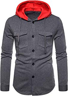 iHHAPY Men's Jackets Sweat Jacket 2019 Autumn Winter Leisure Drawstring Hooded Pullover Sportswear Hoodie Quilted Jacket