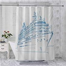 Cortina de ducha de tela Aishare Store, dibujada a mano, estilo bosquejo de crucero, diseño de nave, viajes al mar, vacaci...