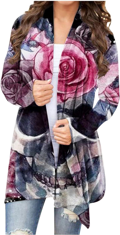 Plus Size Cardigan for Women Halloween Women Long Sleeve Skeleton Print Cardigan Coat Blouse Tops