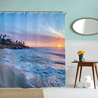 Eleroye 72 x 72 inches Shower Curtain Beautiful Ocean Beach Sunset Blue Sky Turquoise Orange Gold Water Soap Resistant Machine Washable Fabric Bathroom Decor Set with Hook Bath Curtain