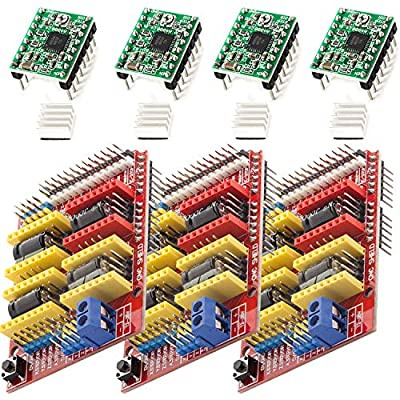 AZDelivery 3 x CNC Shield V3.0 Expansion Board Bundle, 4PCS A4988 Stepper Motor Drivers with 4PCS Heatsink Kits for 3D Printer & Arduino Including E-Book!