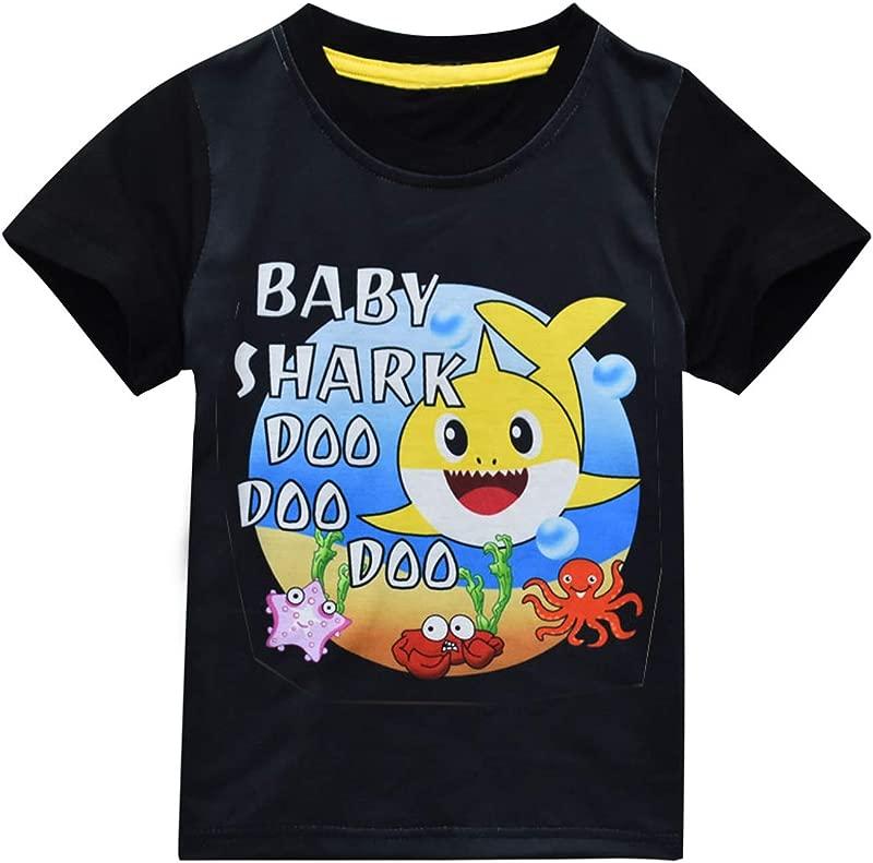 Baby Boy Shark Doo Doo Doo Short Sleeve Clothes For Boy Girl Toddle Kids T Shirt Tops Blouse