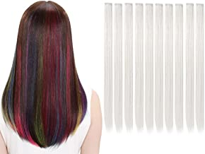 LiaSun 10Pcs/set Multi-Colors Straight Highlight Clip in Hair Extensions 20 Inch Colored Party Hair Pieces (White)