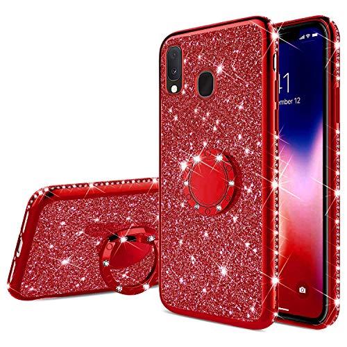 Coque pour Samsung Galaxy A20e Coque Silicone Bling Gliter Paillette Brillant Luxueux Strass Coque Etui + Bague Support Téléphone TPU Souple Anti-Choc Métal Coque Housse Etui Galaxy A20e,Rouge