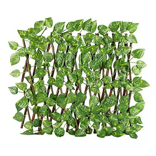 Ausziehbarer Spalierzaun, einziehbarer Zaun, künstlicher Pflanzenzaun, Garten, Teleskop-Schutzleiste, UV-geschützter Sichtschutz, für Hinterhof, Heimdekoration, grüne Wände