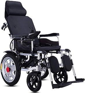 ZHONGXIN Silla De Ruedas Eléctrica, plegable con motor para discapacitados Respaldo Ajustable con Reposacabezas, minusválidos Asiento 45cm