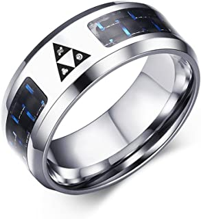 Legend of Zelda Triforce Stainless Steel Blue Carbon Fiber Rings for Men Boy,Size 7-12