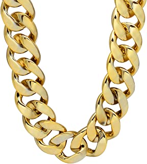 CrazyPiercing Faux Gold Acrylic Chain Necklace, 90s Punk Style Necklace Costume Jewelry, Hip Hop Turnover Chain Necklace, Plastic 32 inches, 36 inches 35mm