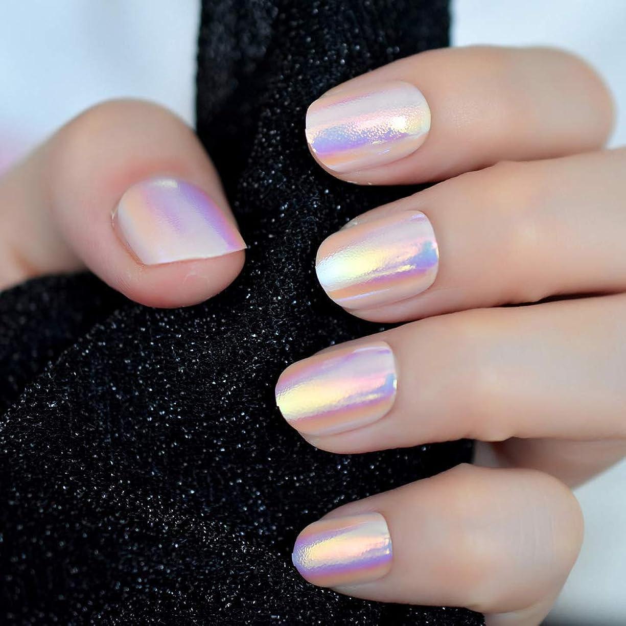 開示するにはまって自信があるXUTXZKA 虹色のピンクの短いフル爪ステッカー12サイズの24本の爪