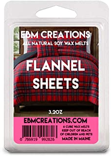 Flannel Sheets - Scented All Natural Soy Wax Melts - 6 Cube Clamshell 3.2oz Highly Scented!