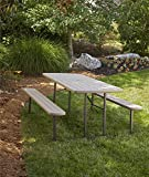 COSCO 87902GRY1E Outdoor Living 6 ft. Folding Picnic Table, Gray Wood Grain