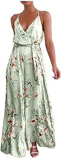 Corriee Rompers for Women Bohemian Floral Print Side Split Wide Leg Pants Jumpsuit Fashion V Neck Playsuit