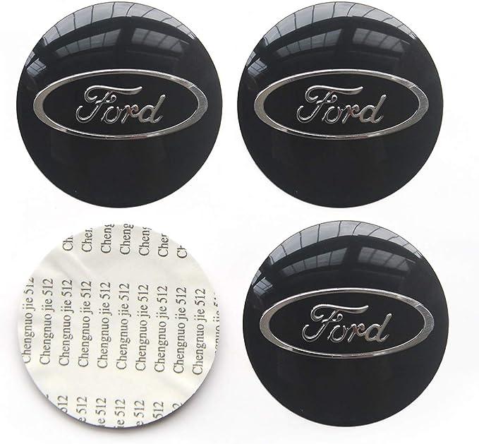 4 Stück 65 Mm 2 56 Zoll Auto Auto Aufkleber Rad Mitte Nabendeckel Logo Aluminium Passend Für Ford Schwarz Auto