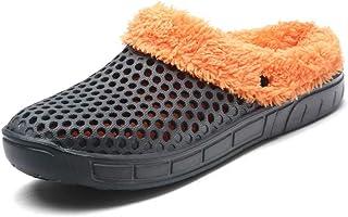 HangFan Zuecos de las mujeres de los hombres Zuecos en los zapatos de jardín Zuecos de piel en los tobillos Chanclas Cálid...