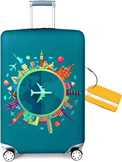 OrgaWise Luggage Covers Travel Luggage Cover Spandex Travel Luggage Cover Suitcase Protector Fits 22''-28'' Inch Luggage case +luggage tag (Fantasy, M)