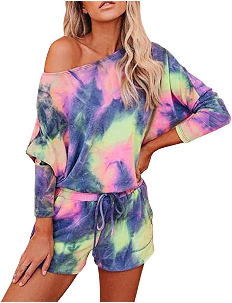 Women Tracksuit Tie-Dye/Leopard Shorts Sets Leisure Lounge Wear Suit Sleepwear