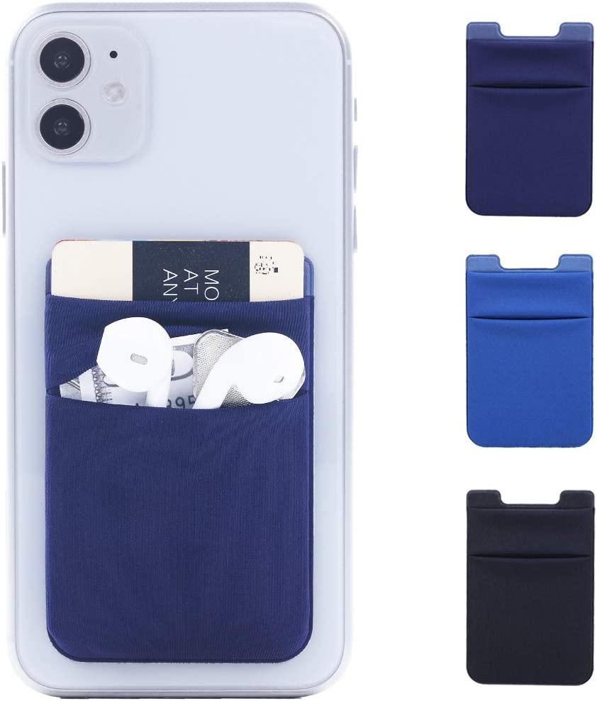 3Pack Adhesive Phone Card Holder Stick on Double Pocket Wallet Stretchy Lycra Credit/ID Card Sleeve Sticker for Back of Phone of iPhone,Android and All Smartphones (Black,Navy Blue,Light Blue)