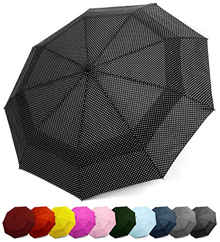 Windproof Travel Umbrella - Compact, Double Vented Folding Umbrella w/Automatic Open & Close Button - Portable, Lightweight Outdoor & Golf Rain...