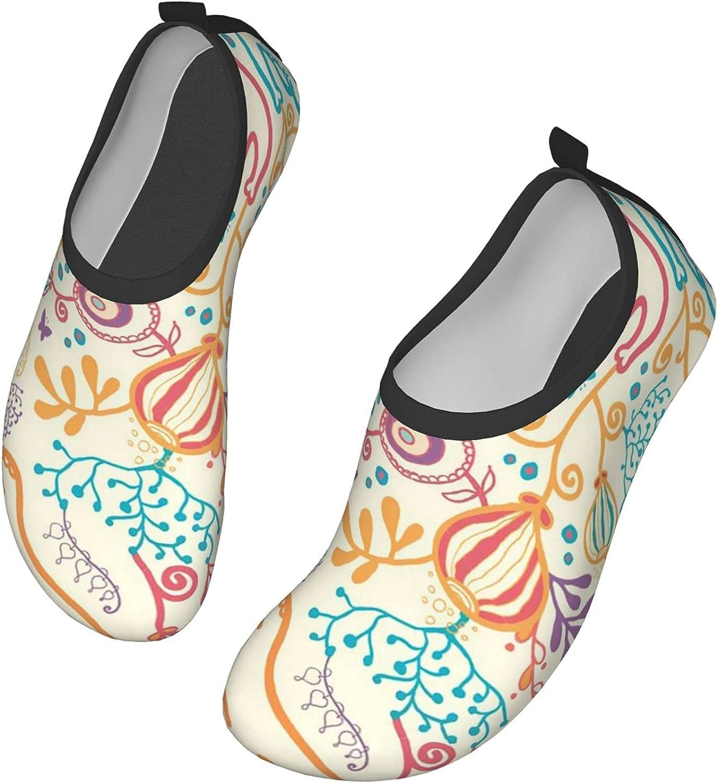 NAHOMER Mens Water Shoes Cute Elephants Flowers Womens Wading Shoes Slip-On Aqua Socks Pool Travel Kayaking River