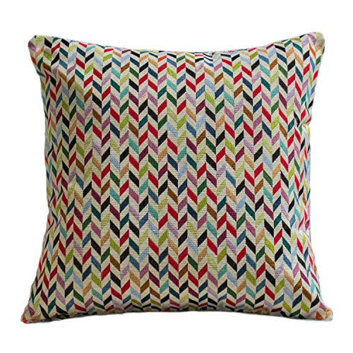 Geometric Tapestry Double Sided Cushion Cover. 17'x17' Square Pillow Case Only. Multicoloured woven design. Modern contemporary traditional Tapestry Style Weave. Bright and Bold Chevron Style Pattern.